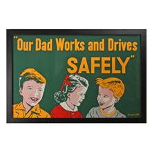 Framed Factory Poster w/ Kids c1956