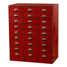 Red-Painted Multi-Drawer Cabinet c1940