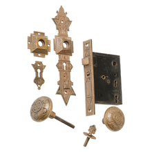 Complete Cast Brass Entry Door Set by Parker & Whipple c1884