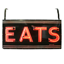 Double Sided Neon EATS Sign C1940