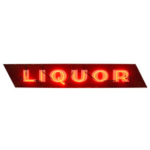 Red Neon Liquor Sign w/ Porcelain Faceplate c1930s