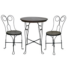 Twisted Wire Ice Cream Parlor Set W/ Table and Two Chairs C1900