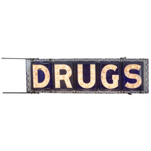 Incredibly Rare Double-Sided Federal Electric Company DRUGS Sign C1903