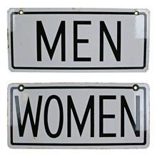 Pair of Porcelain Restroom Signs C1930s