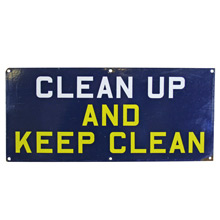 Blue Enamel Clean Up Sign C1935