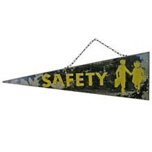 Perfectly Worn School Crossing Pennant Sign C1955