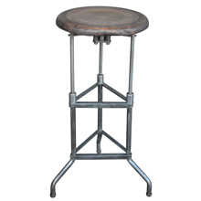 Industrial Raw Iron Tripod Stool w/ Oak Seat c1935