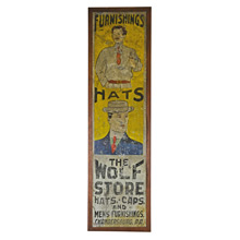 Hand Painted Men's Clothing Sign c1915