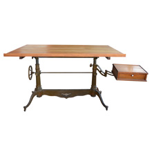 Incredible Cast Iron and Oak Drafting Table w/ Swing Arm Drawer c1890