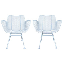Pair of White Sculptura Armchairs by Russell Woodard c1950's