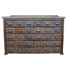 Dark Oak 30-Drawer General Store Cabinet c1925