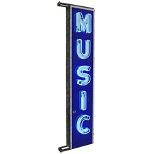 Bright Blue Neon Music Sign w/ Porcelain Faceplate c1940