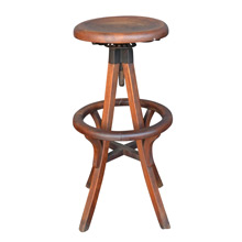 Solid Maple Stool w/ Foot Rest c1915