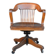 Solid Oak Library Chair on Casters C1915