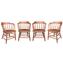 Set of 4 Turned Oak Tavern Chairs c1910s