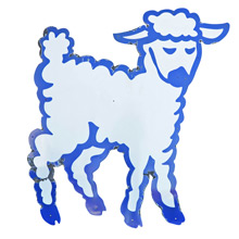 Large Blue and White Porcelain Sheep Sign c1950s