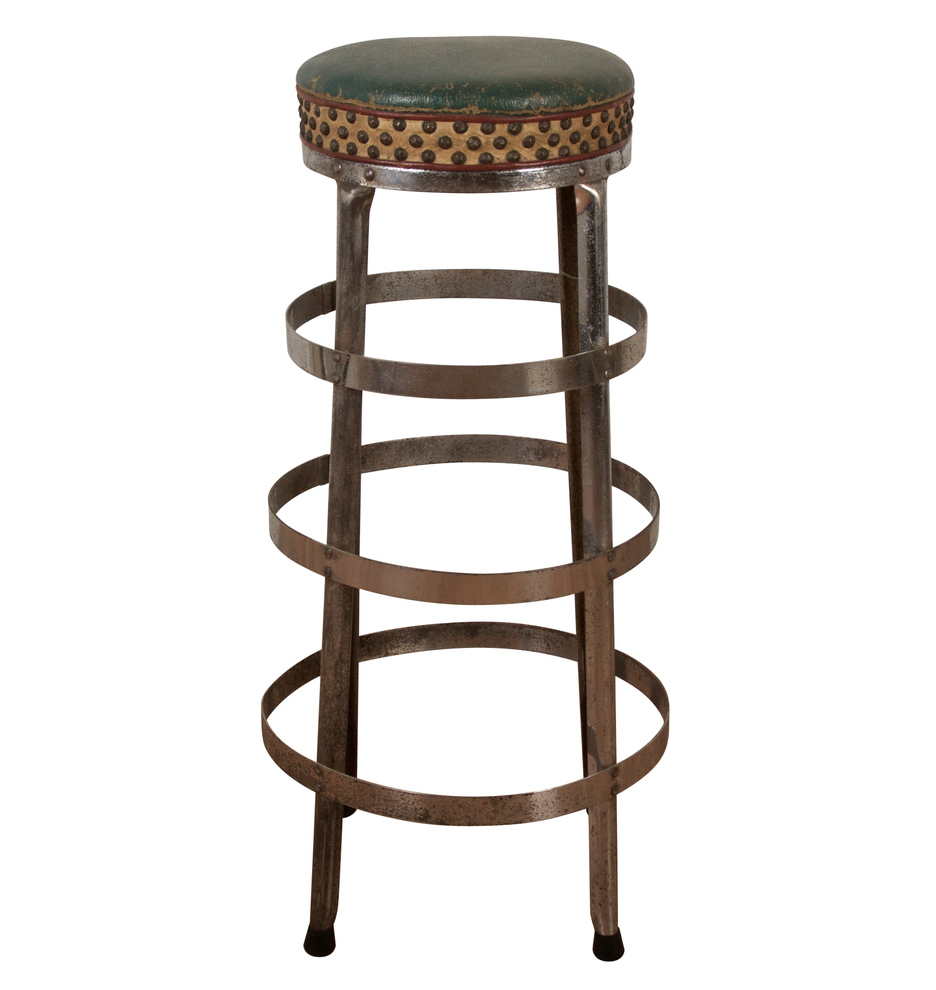 chrome plated kitchen stool with upholstered seat
