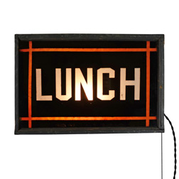 Double Sided Illuminated Lunch Sign c1940