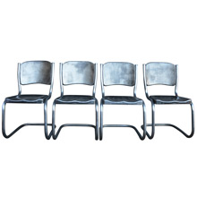 Set of 4 Raw Steel Dinette Chairs c1948