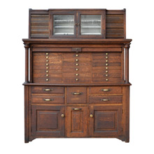 Incredible Oak Medical Cabinet w/ Tambour Doors c1920