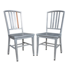 Pair of Aluminum Side Chairs w/ Walnut Spindle c1960s