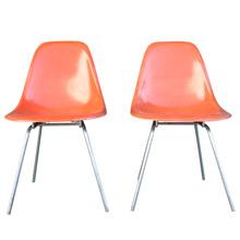 Pair of Orange Fiberglass Shell Chairs by Herman Miller c1950