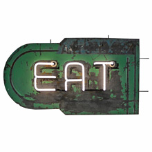Double-Sided Neon Eat Sign c1930s