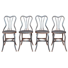 Set of 4 Raw Steel Toledo Cafe Chairs C1930