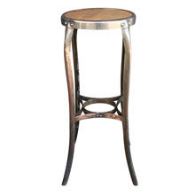 Nickel Plated Toledo Cafe Stool W/ Oak Veneer Seat C1915