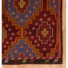 Vintage Geometrically Embroidered Rug c1900