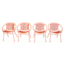 Set of 4 Orange Salterini Hoop Chairs C1955