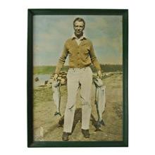 Large Tinted Photo of Recreational Fisherman c1945