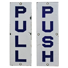 Rare Blue and White Enamel Push Pull Entry Signs C1930