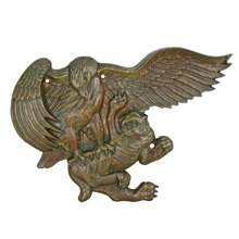 Solid Bronze Eagle and Tiger Placard C1950