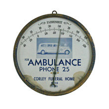 Corley Funeral Home Advertisement Thermometer C1932