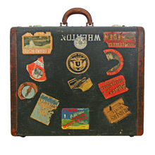 Well-Travelled Vintage Suitcase C1950s