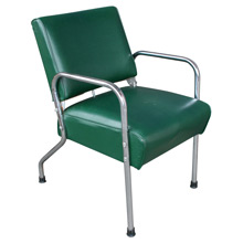 Green Vinyl Reclining Barbershop Chair C1950