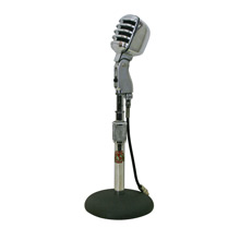 Polished Aluminum Microphone on Atlas Sound Stand C1960