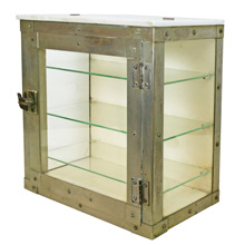 Art Deco Nickel and Milk Glass Sterilizer Cabinet C1928
