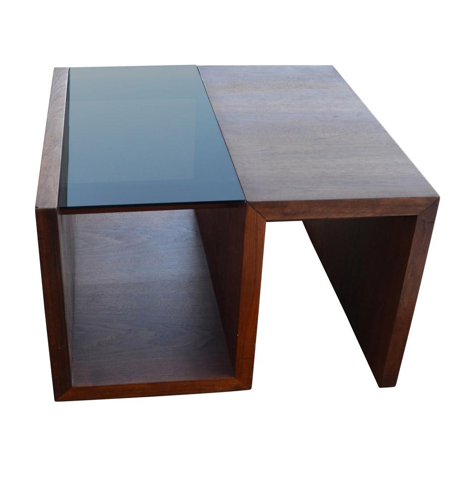 Walnut And Smoke Glass Coffee Table By Brown Saltman Rejuvenation