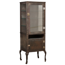 Tall Raw Steel Cabinet w/ Lower Storage and Cabriole Legs c1900