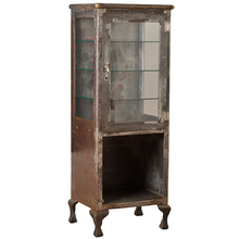 Weathered Raw Steel Medical Cabinet w/ Cast Iron Legs c1900