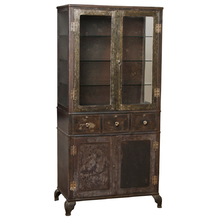 Large Industrial Raw Steel Medical Cabinet c1910s