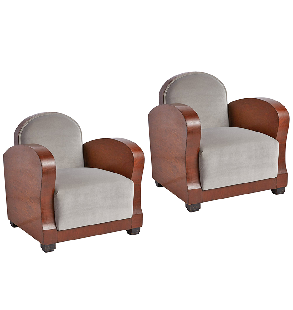 F6658 wk37 171010 02 f6658  sc 1 st  Rejuvenation & Pair of French Art Deco Club Chairs in Burl Wood u0026 Velvet ... islam-shia.org