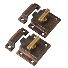Pair Of Classic T-Handle Cupboard Latches, C1900