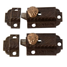 Pair Of  Eastlake Cupboard Latch w/Brass Knobs, C1880