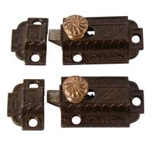 Pair Of  Eastlake Cupboard Latch w/Brass Knobs, C1880