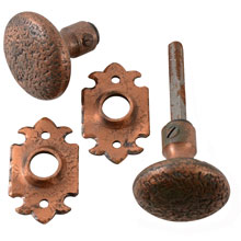 Revival Style Copper-Plated Door Knob Set W/ Escutcheons C1955