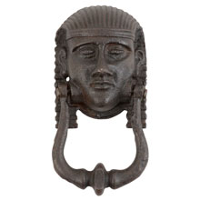 Impressive Cast Iron Egyptian Figural Door Knocker c1920