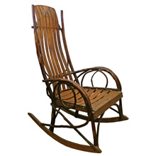 Traditional Amish-Style Hickory Bentwood Rocker C1930